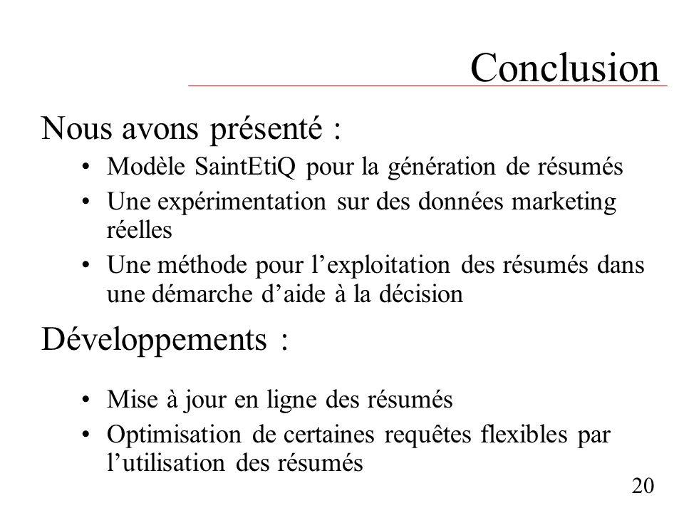 Conclusion Nous avons présenté : Développements :
