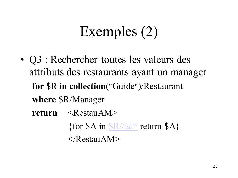 Exemples (2) Q3 : Rechercher toutes les valeurs des attributs des restaurants ayant un manager. for $R in collection( Guide )/Restaurant.