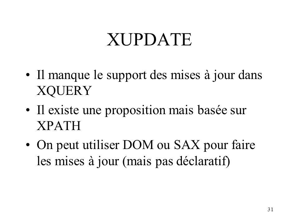 XUPDATE Il manque le support des mises à jour dans XQUERY