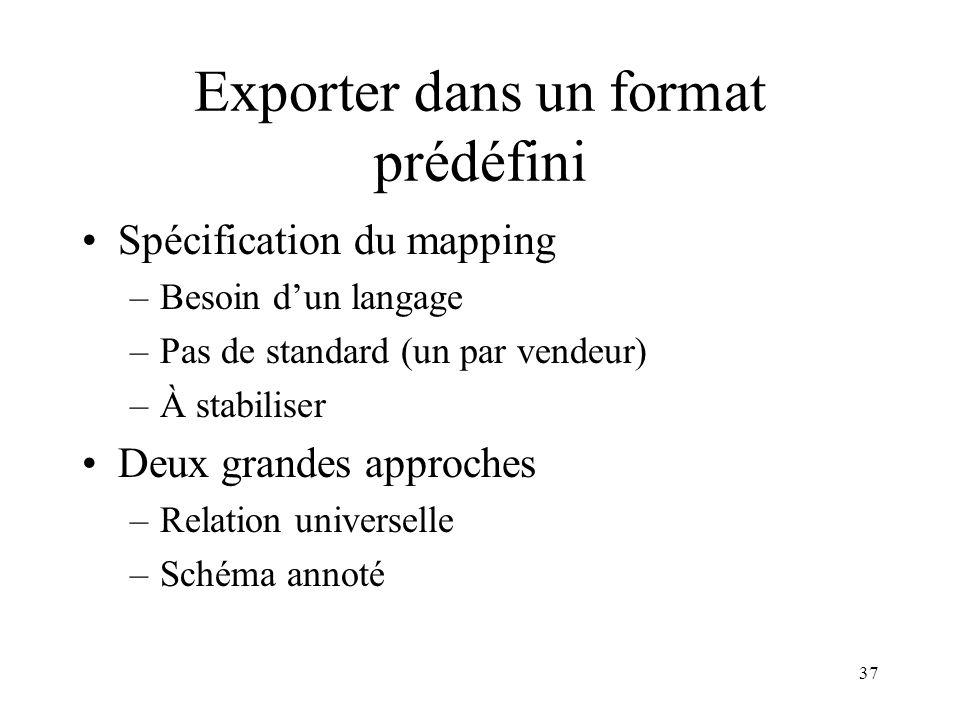 Exporter dans un format prédéfini