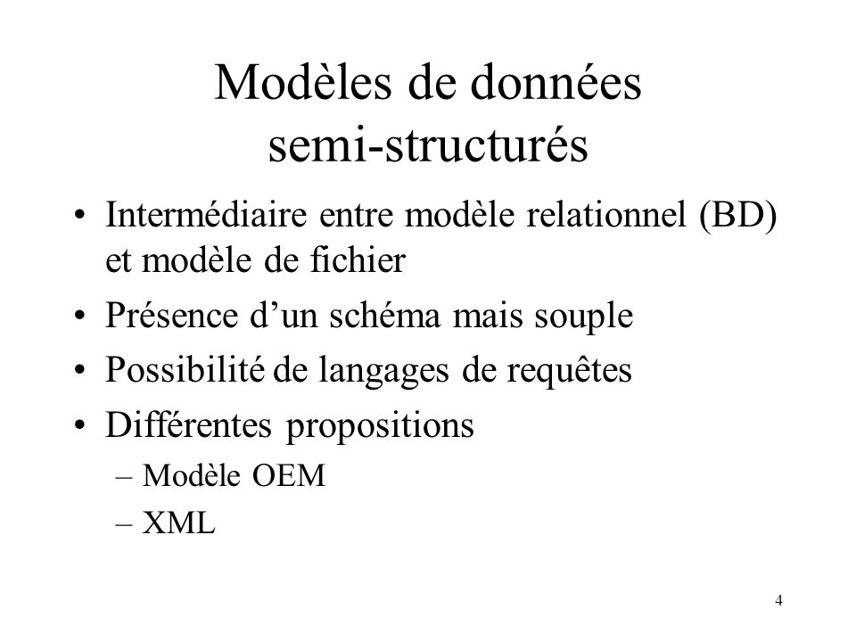Modèles de données semi-structurés