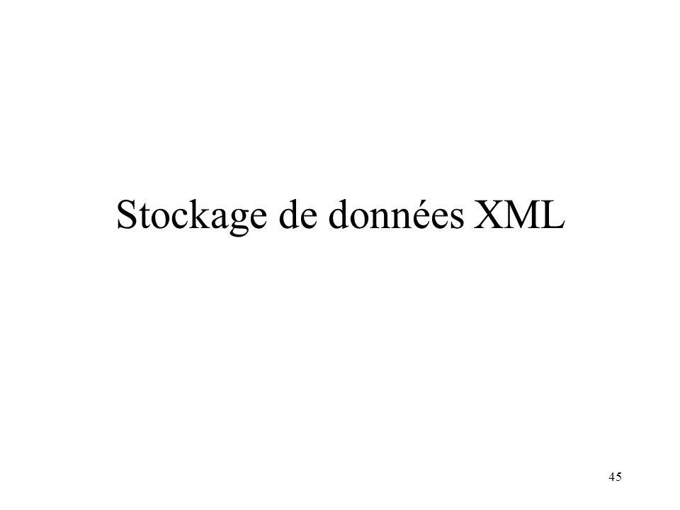 Stockage de données XML