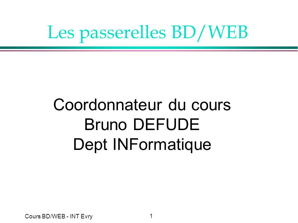 Les passerelles BD/WEB