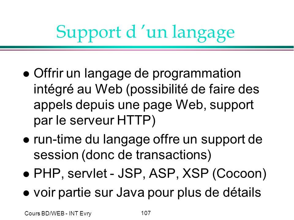 Support d 'un langage