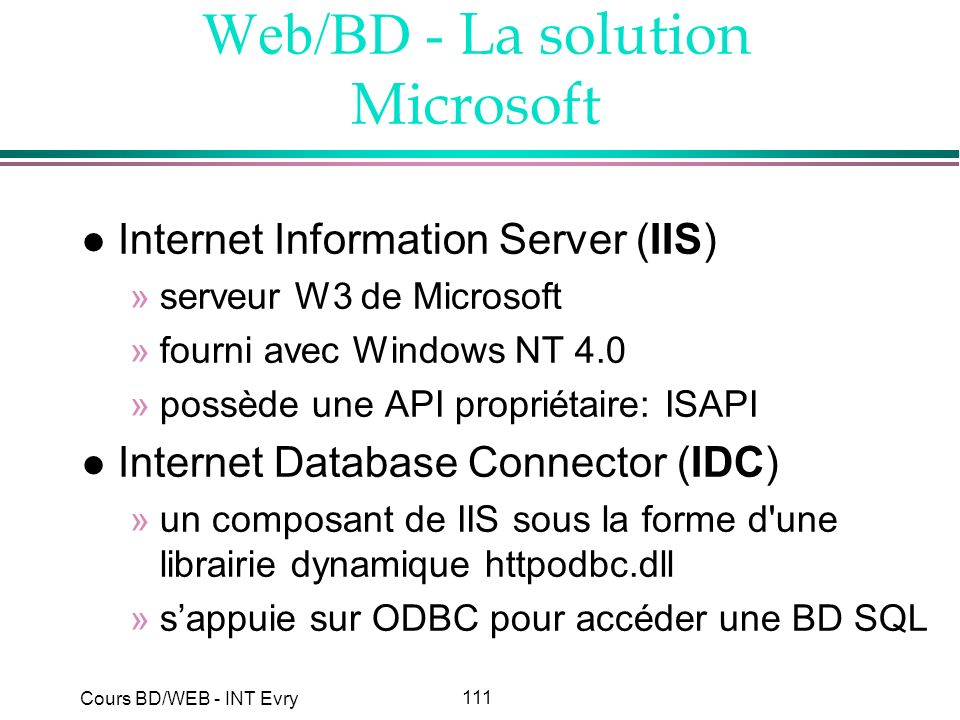 Web/BD - La solution Microsoft