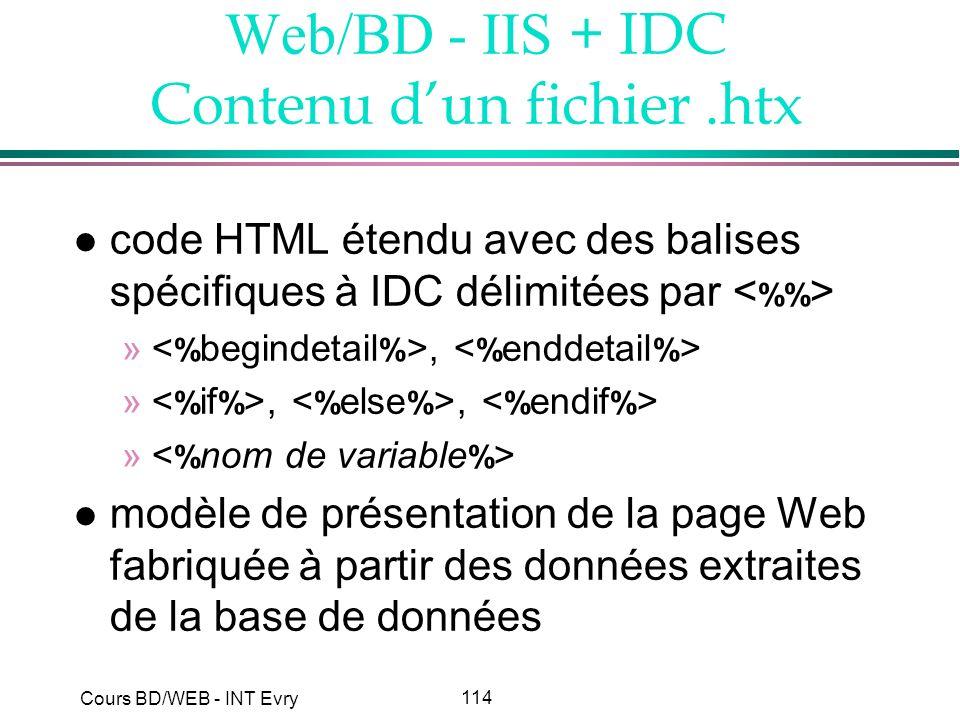 Web/BD - IIS + IDC Contenu d'un fichier .htx