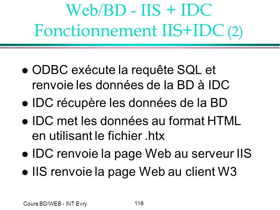 Web/BD - IIS + IDC Fonctionnement IIS+IDC (2)