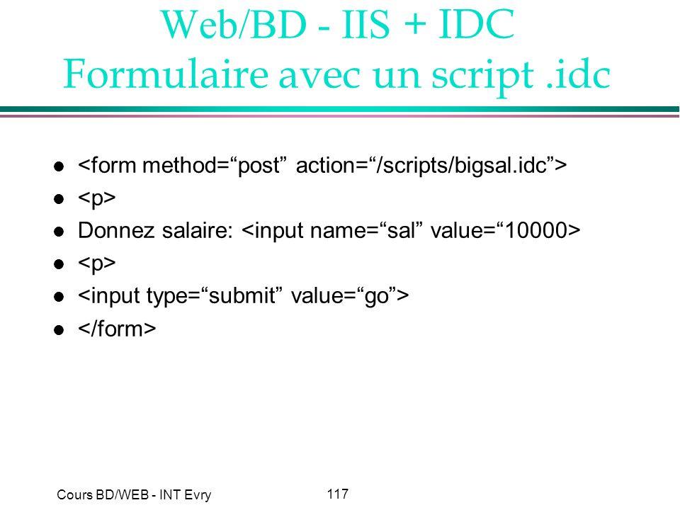 Web/BD - IIS + IDC Formulaire avec un script .idc
