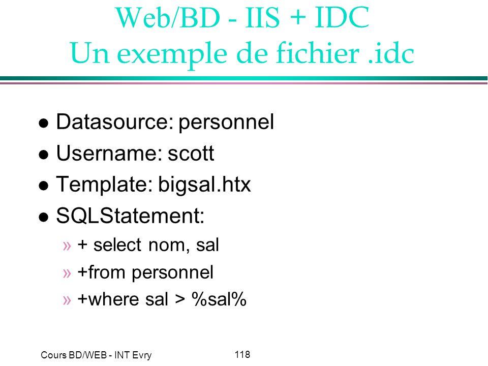 Web/BD - IIS + IDC Un exemple de fichier .idc