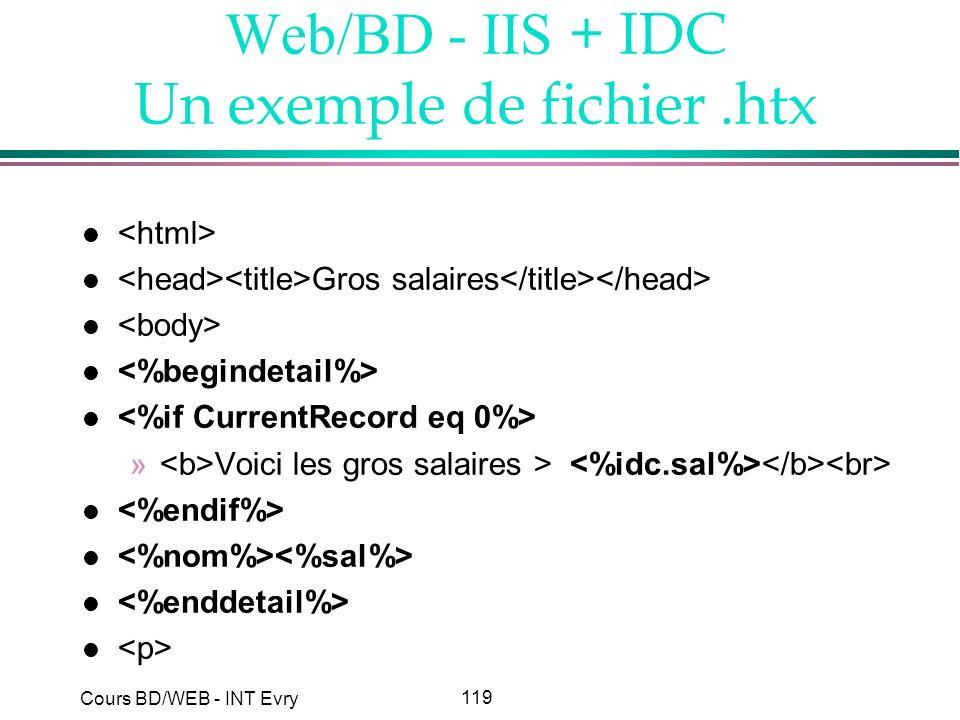 Web/BD - IIS + IDC Un exemple de fichier .htx