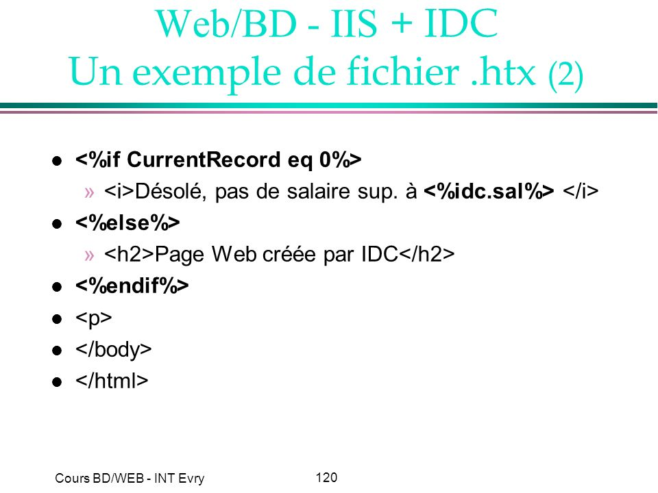 Web/BD - IIS + IDC Un exemple de fichier .htx (2)
