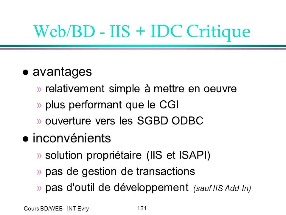 Web/BD - IIS + IDC Critique