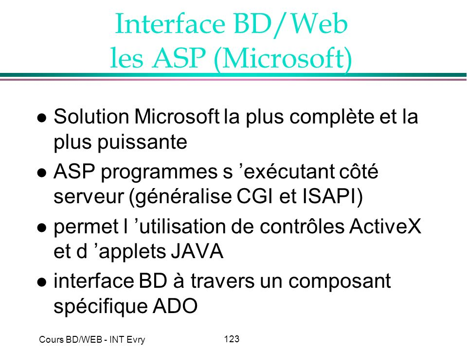 Interface BD/Web les ASP (Microsoft)