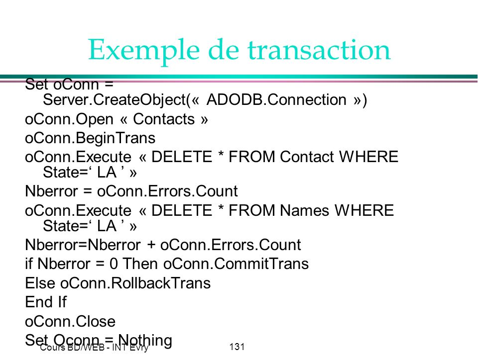 Exemple de transaction