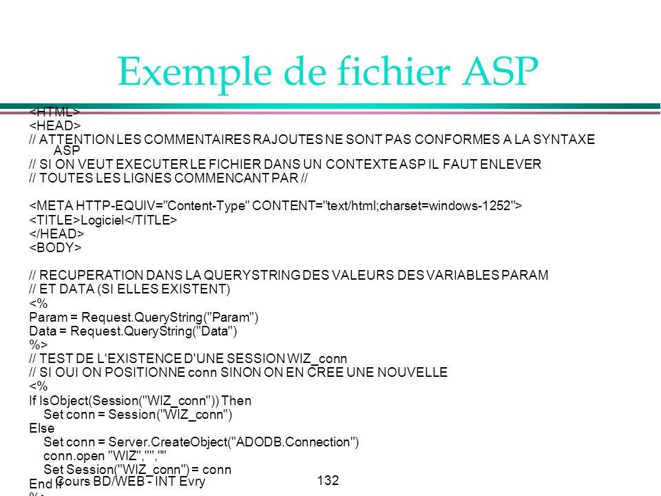 Exemple de fichier ASP <HTML> <HEAD>
