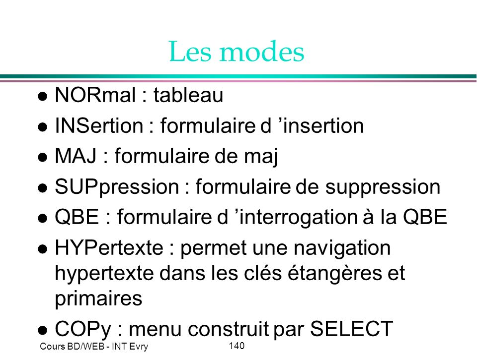 Les modes NORmal : tableau INSertion : formulaire d 'insertion
