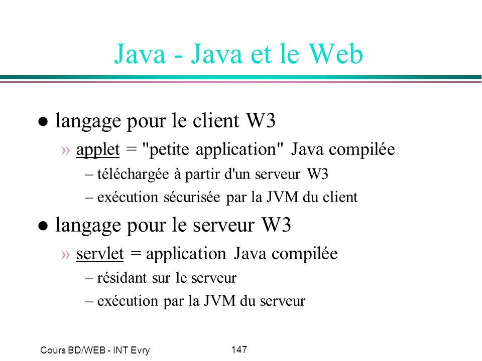 Java - Java et le Web langage pour le client W3
