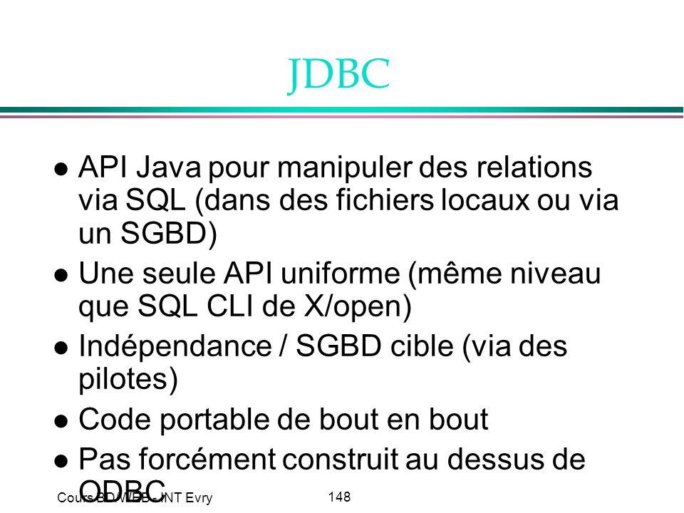 JDBC API Java pour manipuler des relations via SQL (dans des fichiers locaux ou via un SGBD)