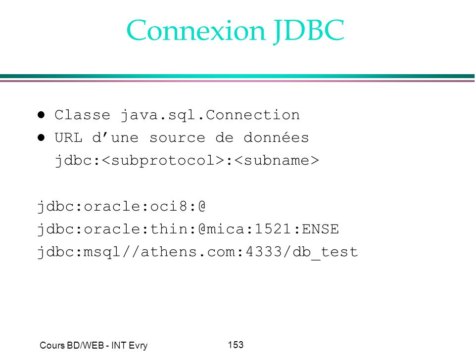 Connexion JDBC Classe java.sql.Connection URL d'une source de données