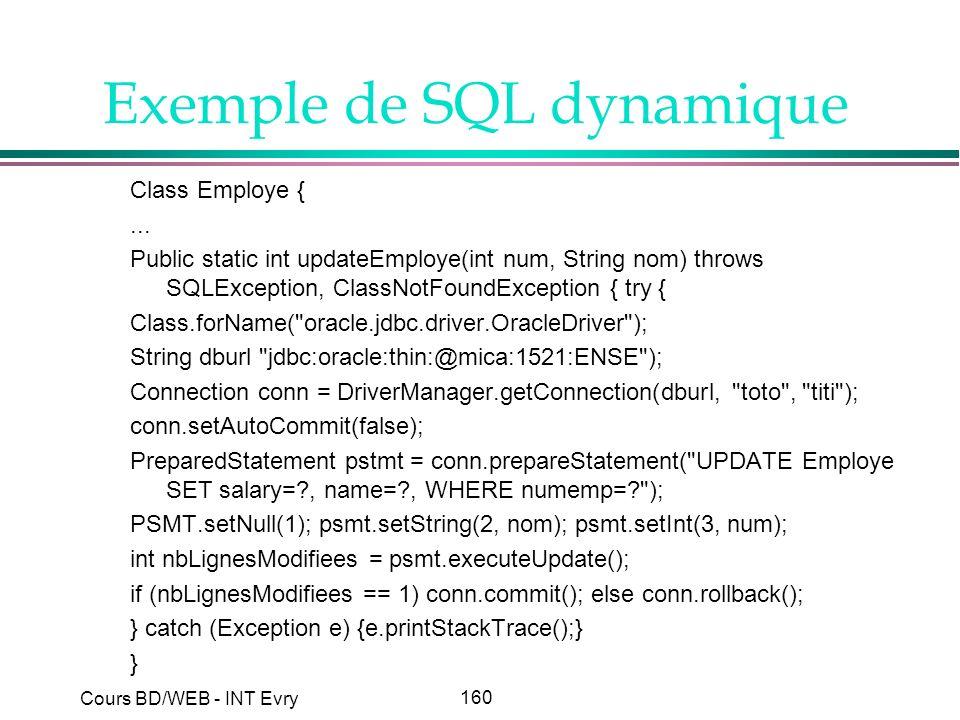 Exemple de SQL dynamique
