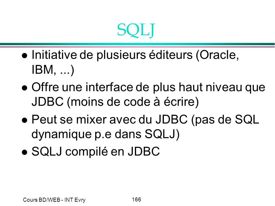 SQLJ Initiative de plusieurs éditeurs (Oracle, IBM, ...)