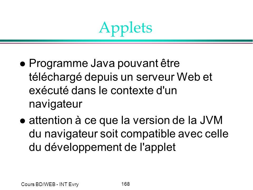 Applets Programme Java pouvant être téléchargé depuis un serveur Web et exécuté dans le contexte d un navigateur.