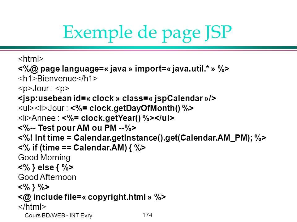 Exemple de page JSP <html>