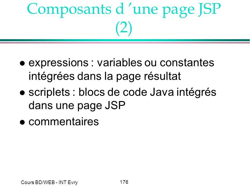 Composants d 'une page JSP (2)