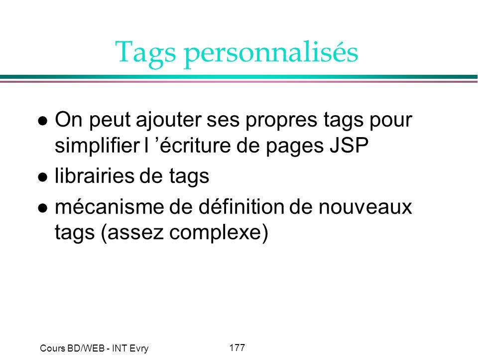 Tags personnalisés On peut ajouter ses propres tags pour simplifier l 'écriture de pages JSP. librairies de tags.