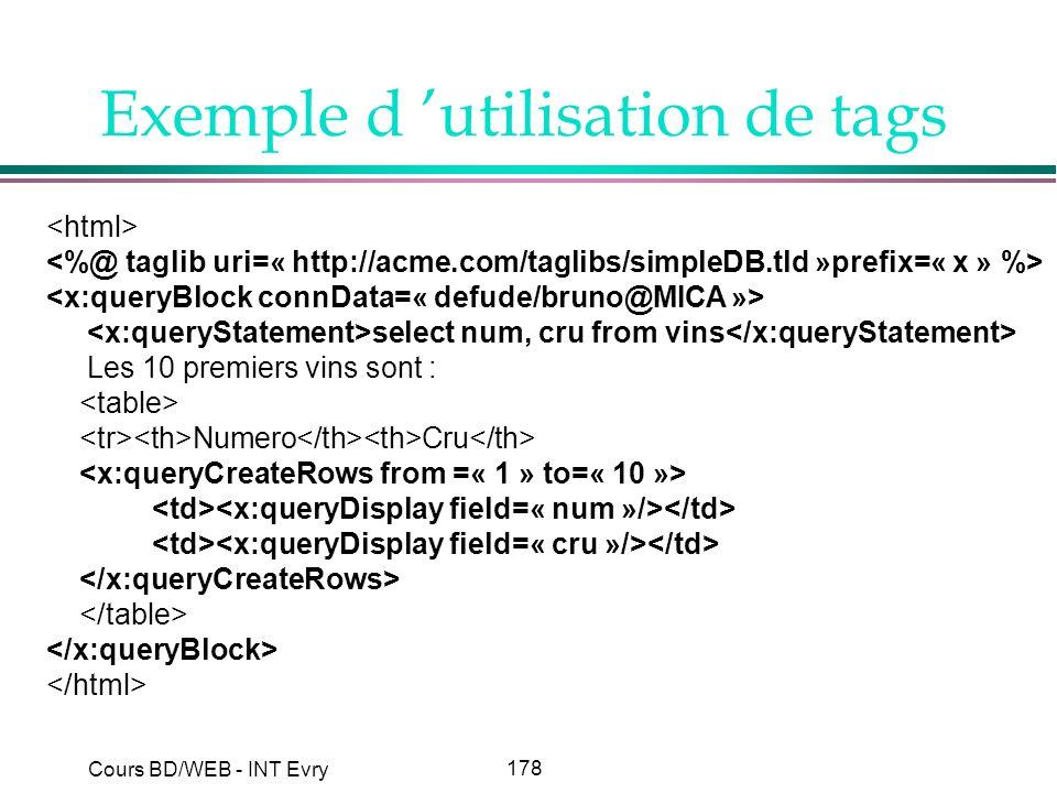 Exemple d 'utilisation de tags