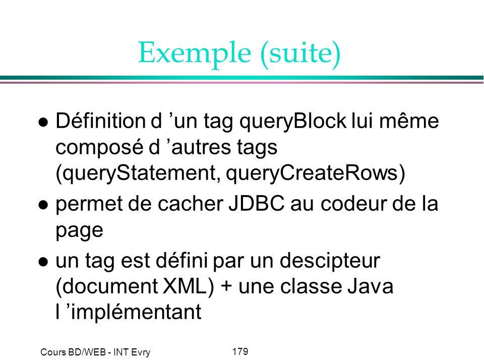 Exemple (suite) Définition d 'un tag queryBlock lui même composé d 'autres tags (queryStatement, queryCreateRows)
