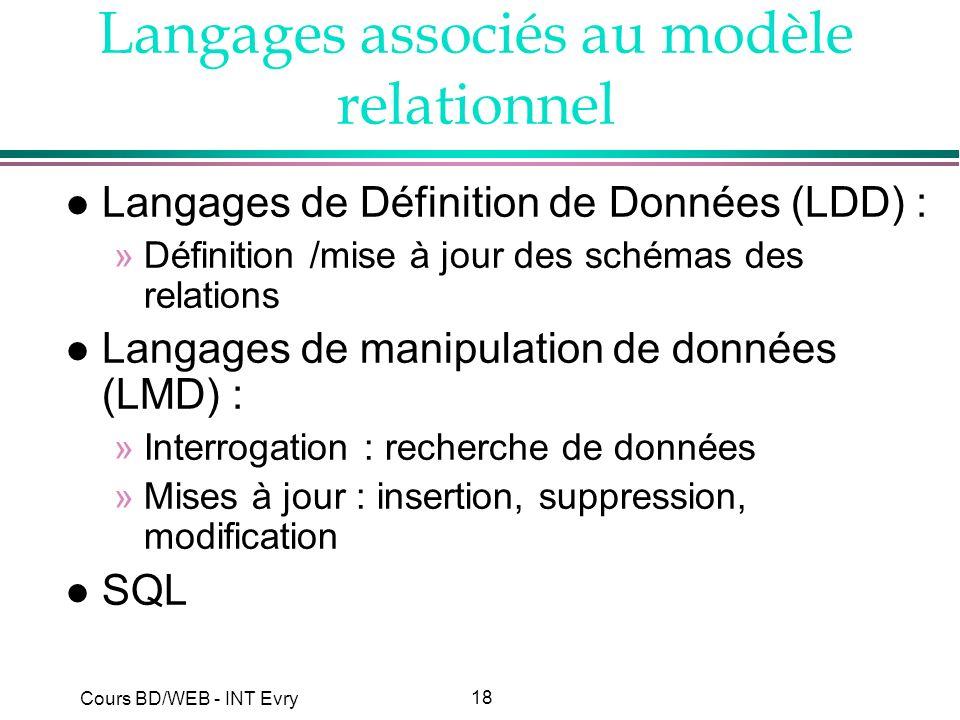 Langages associés au modèle relationnel