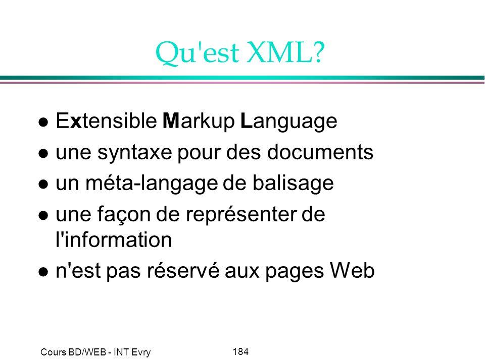 Qu est XML Extensible Markup Language une syntaxe pour des documents