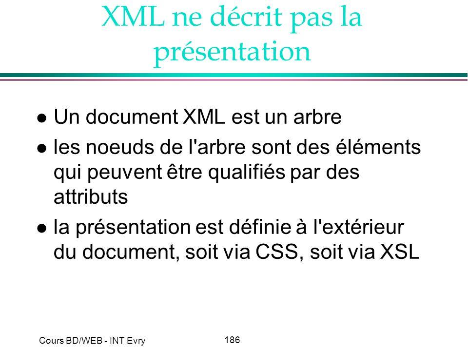 XML ne décrit pas la présentation