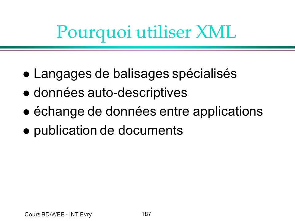 Pourquoi utiliser XML Langages de balisages spécialisés