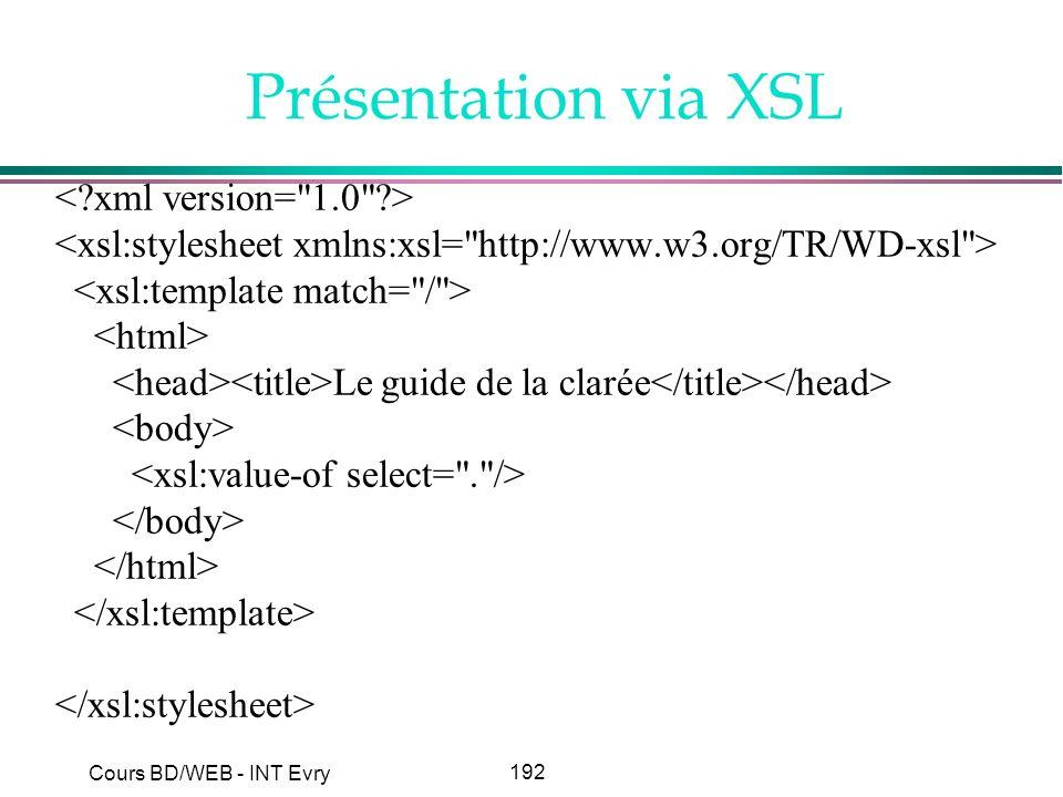Présentation via XSL < xml version= 1.0 >