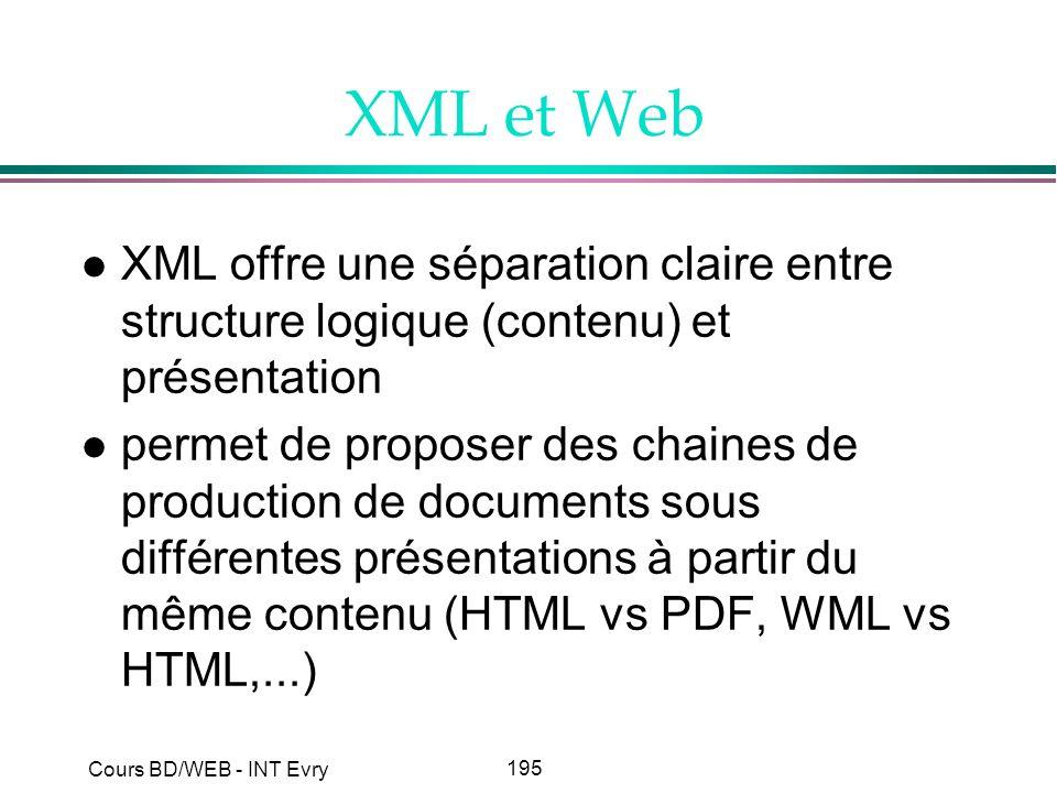 XML et Web XML offre une séparation claire entre structure logique (contenu) et présentation.