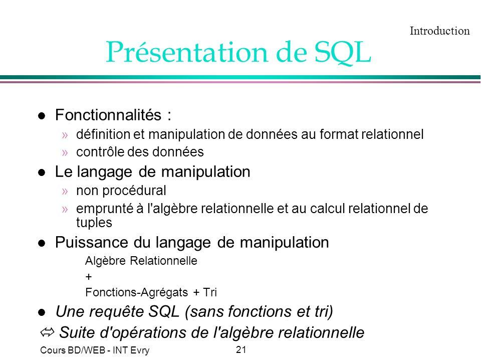 Présentation de SQL Fonctionnalités : Le langage de manipulation