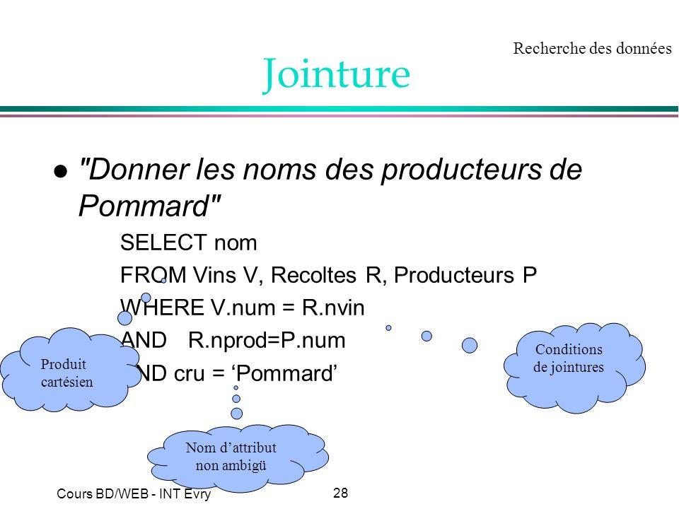 Jointure Donner les noms des producteurs de Pommard SELECT nom