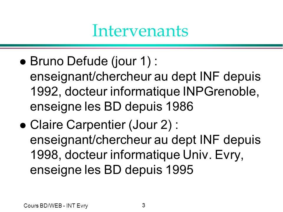 Intervenants Bruno Defude (jour 1) : enseignant/chercheur au dept INF depuis 1992, docteur informatique INPGrenoble, enseigne les BD depuis 1986.