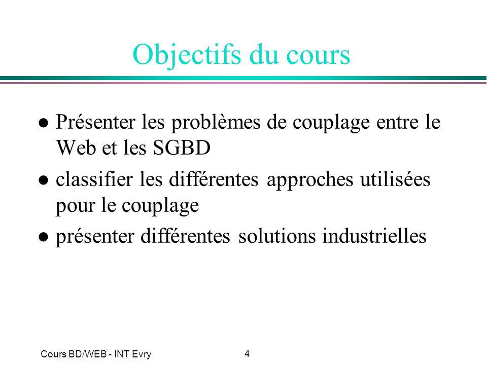 Objectifs du cours Présenter les problèmes de couplage entre le Web et les SGBD. classifier les différentes approches utilisées pour le couplage.