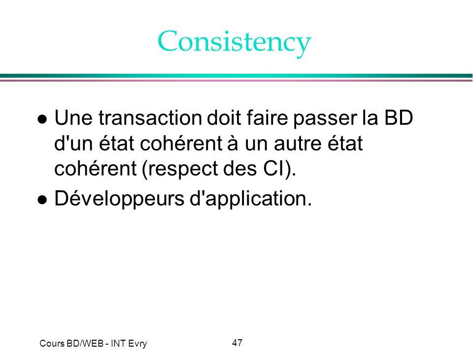 Consistency Une transaction doit faire passer la BD d un état cohérent à un autre état cohérent (respect des CI).