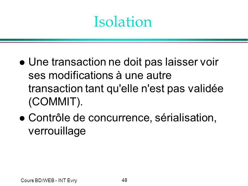 Isolation Une transaction ne doit pas laisser voir ses modifications à une autre transaction tant qu elle n est pas validée (COMMIT).