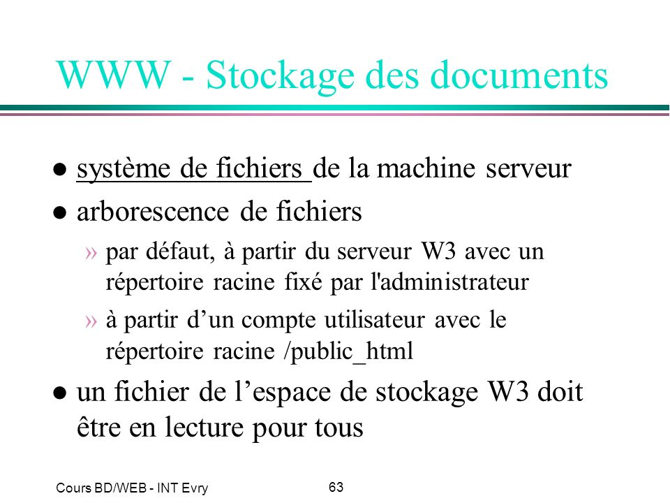 WWW - Stockage des documents
