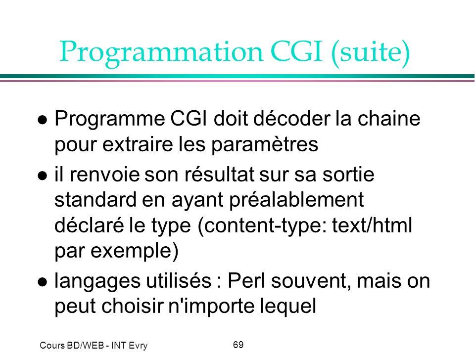 Programmation CGI (suite)