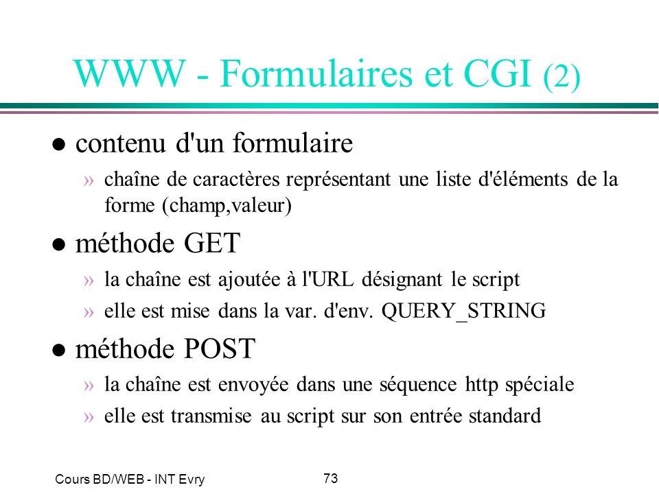 WWW - Formulaires et CGI (2)