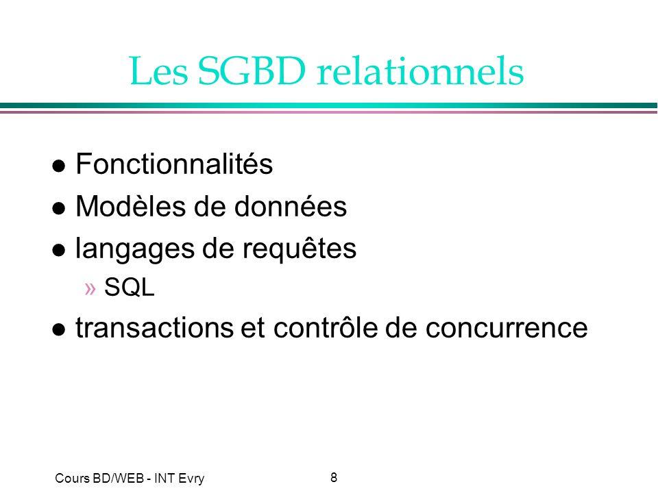 Les SGBD relationnels Fonctionnalités Modèles de données