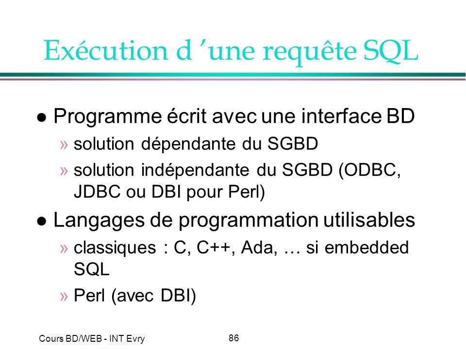 Exécution d 'une requête SQL