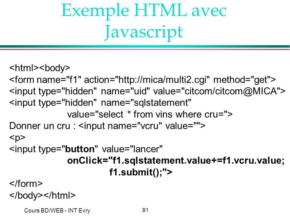 Exemple HTML avec Javascript