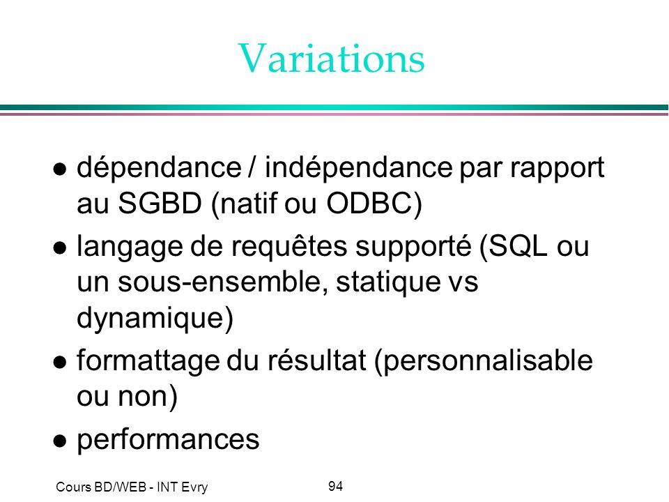 Variations dépendance / indépendance par rapport au SGBD (natif ou ODBC)
